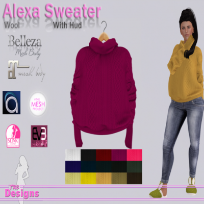TRS Designs - Alexa Sweater With Hud Wool Exclusive Dazzle Event