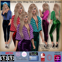 Image of MESH Dottie Silky Wrap Top, Leather Pants and Shoes by Moonstar