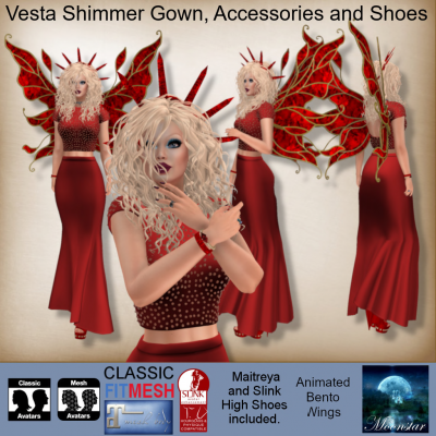 MESH Vesta Shimmer Gown, Accessories and Shoes by Moonstar