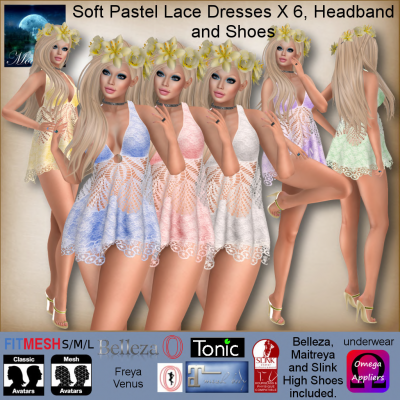 Image of Moonstar - Soft Pastel Lace Dresses X 6, Headband and Shoes