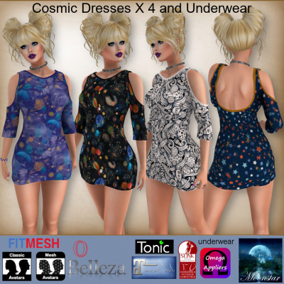 Image of MESH Cosmic Dresses X 4 and Underwear by Moonstar