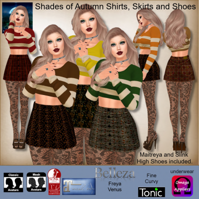 Image of MESH Shades of Autumn Shirts, Skirts and Shoes by Moonstar