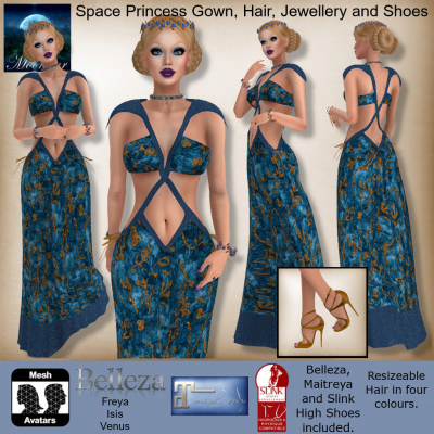 MESH Space Princess Gown, Hair, Jewellery and Shoes by Moonstar