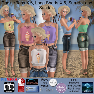 Image of Moonstar - Cookie Tops X 6, Long Shorts X 6, Sun Hat and Sandals