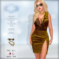 Image of *Lurve* Zebra Safari Fitmesh Dress - Gold